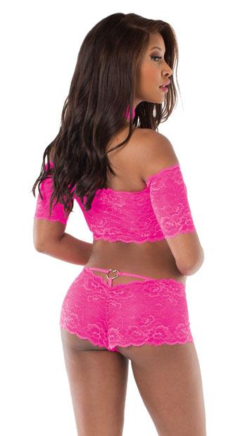 Cold Shoulder Lace Lingerie Set - Hot Pink