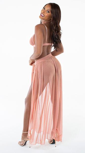 Rose Gold Shimmer Bralette and Skirt Set - Rose Gold