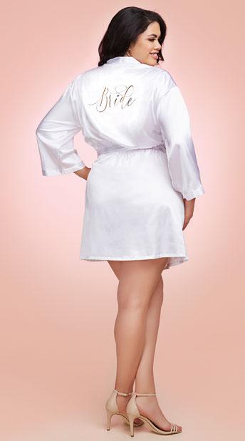 Plus Size Babe-To-Be Satin Robe - White
