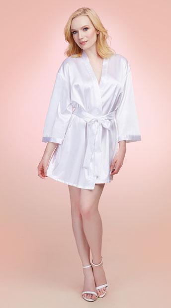 Babe-To-Be Satin Robe - White