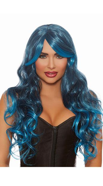 Wavy Blue Wig - Blue