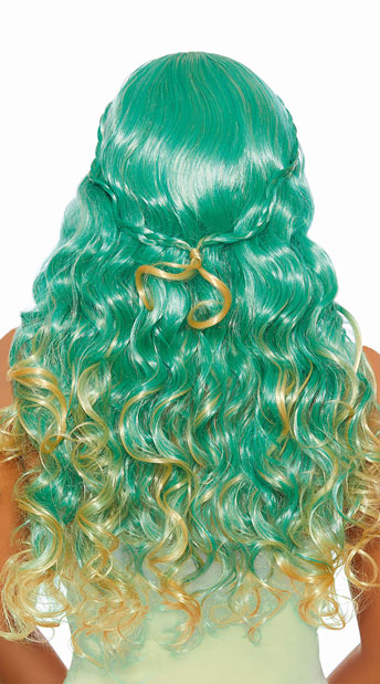 Braided Green Mermaid Wig - As Shown