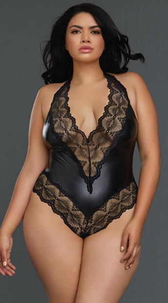 Plus Size Hang On Hunny Bodysuit - Black