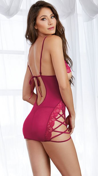 Exposed Strappy Chemise - Raspberry