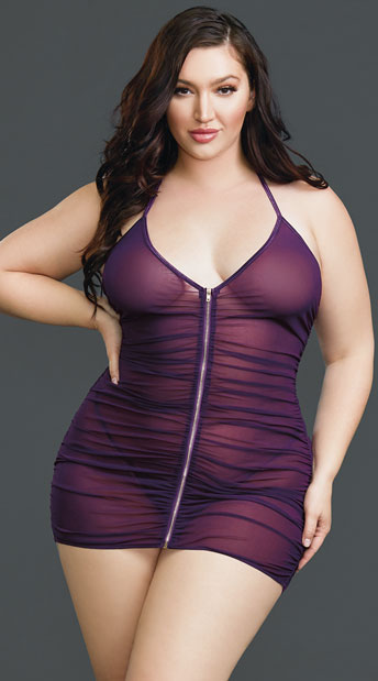 e5bceb57ae9 Plus Size Shock Me Zipper Chemise Set - Plum ...