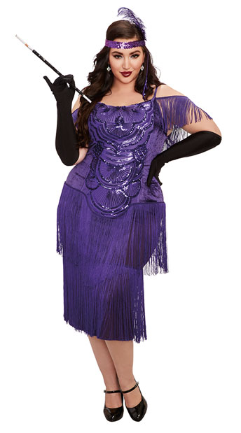 Plus Size Miss Ritz Costume, plus size Purple Flapper Costume - Yandy.com