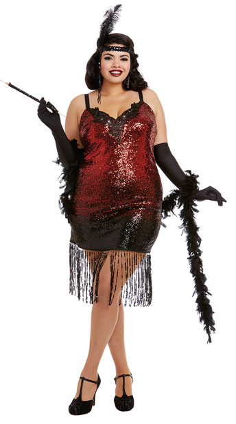 Plus size Ladies red glitter flapper costume with feather boa