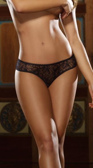 Plus Size Open Crotch Low Rise Panty - Black