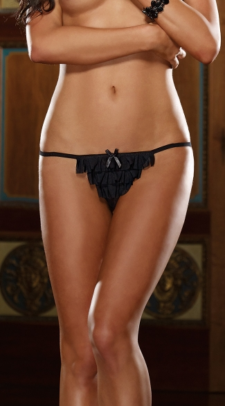 Open Crotch Ruffled Thong, Stretch Mesh Thong with Spandex Ruffles, Crotchless Thong