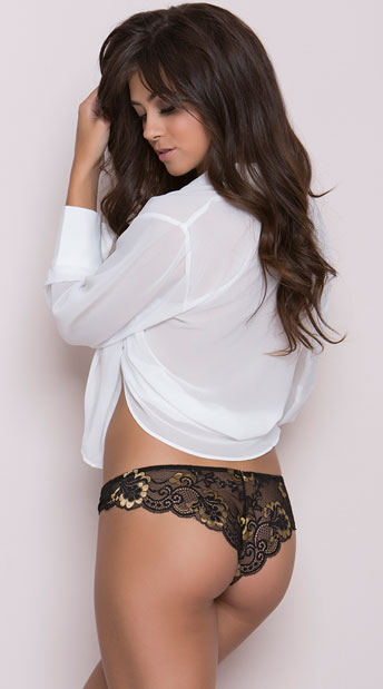 Cheeky Panty with Black and Gold Lace, Microfiber Cheeky Panty, Black Panty with Lace Back