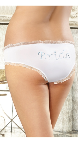 Plus Size Here Comes The Bride Hipster Panty, Plus Size Bridal Panty, Plus Size White Bridal Full Back Underwear