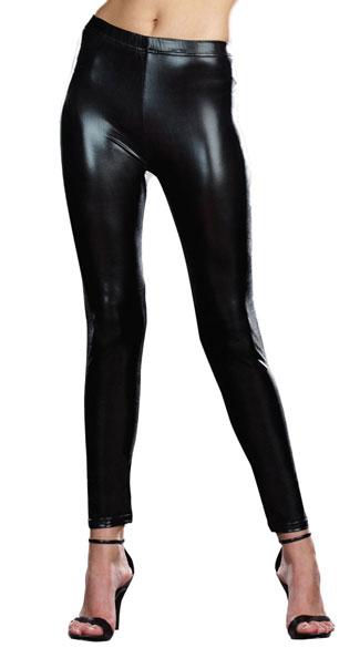 Stretch Gloss Microfiber Leggings - Black
