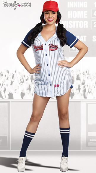 Plus Size Grand Slam Costume, Women Baseball Costume -5977