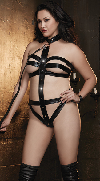 Plus Size Black Vinyl Teddy And Leash Set, Plus Size Cage Set, Plus Size, Strappy Teddy Set
