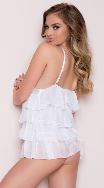 Layered Chiffon Babydoll Set - White