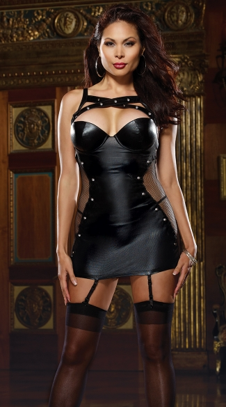 Plus Size Faux Leather and Fishnet Garter Slip, Plus Size Leather and Fishnet Chemise, Plus Size Studded Leather Chemise, Plus Size Studded Leather Garter Slip