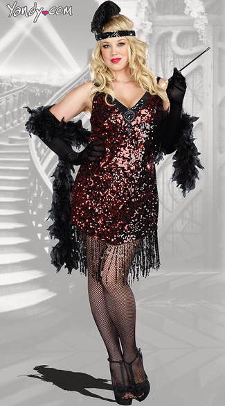 Plus Size Dames Like Us Costume, Plus Size Sequin Flapper Costume ...