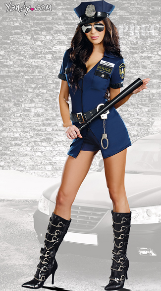 Officer Sheila B Naughty Costume, Navy Blue Police Costume, Police Officer Dress Costume