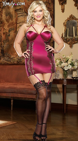 Plus Size Regal Romance Garter Chemise Set - Raspberry