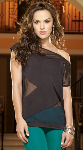 Blackout Illusion Club Top, Sheer Back Top, Off The Shoulder Club Top