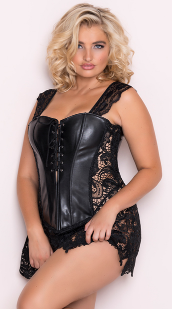 Plus Size Faux Leather and Venice Lace Corset, Plus Size Venice Lace Lingerie