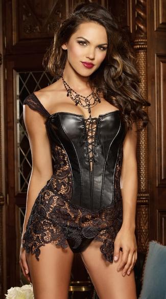 Faux Leather And Venice Lace Corset, Black Leather Corset -5087