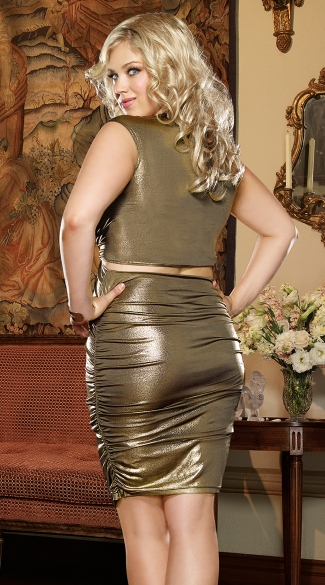 Plus Size Gold Rush Cut Out Club Dress - Gold