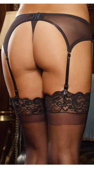 Elegant Persuasion Satin Garter Belt - Black