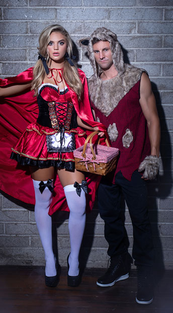 Little Red And The Wolf Couples Costume - as shown