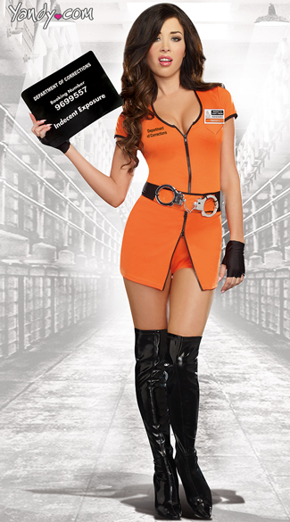 Sexy Locked Up Inmate Costume - Black/Orange