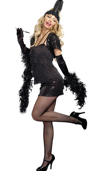 Feathered Flapper Head Piece - Black