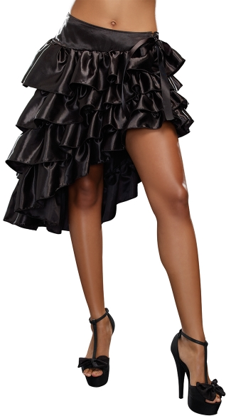 Ruffled Bustle Skirt with Thigh High Slit - Black