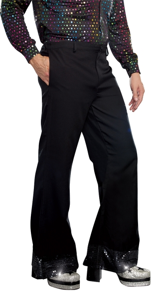 Men's Disco Pants with Sparkling Cuffs - Black