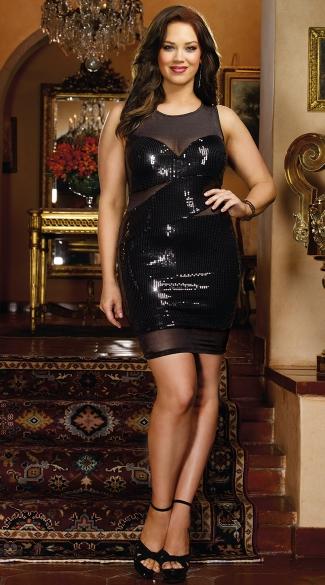 Plus Size Midnight Mistress Sequin Mini Dress Plus Sexy