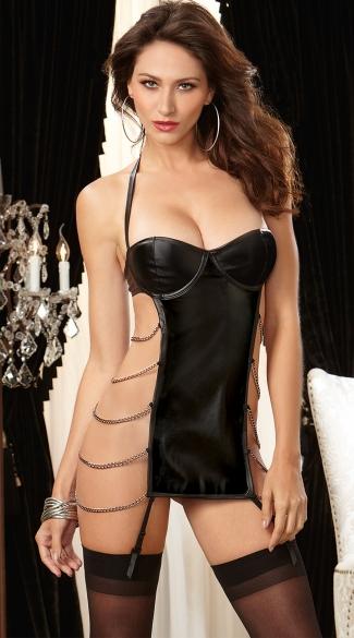 Chained Seduction Faux Leather Garter Slip - Black