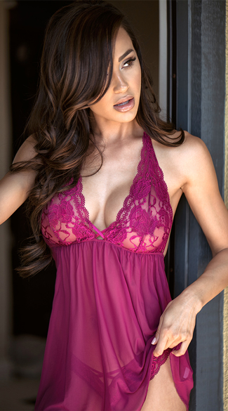 Ravishing Soft Lace Babydoll Set, Dark Pink Babydoll - Yandy.com