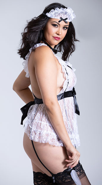 Plus Size White Lace French Maid Lingerie Costume - Black/White
