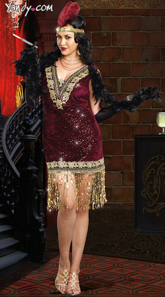 Plus Size Sophisticated Lady Costume, Plus Size Sexy Jazz Girl Costume, Plus Size Burgundy Flapper Costume