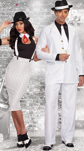 Zoot Suit Couple Costume  sc 1 st  Yandy & Dirty Work Gangster Costume Sexy White Mobster costume White Sexy ...