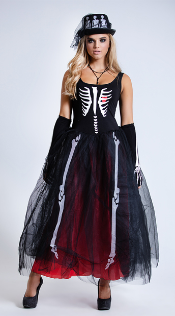 Ms. Bones Skeleton Costume - As Shown