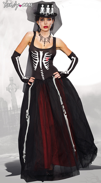 Ms. Bones Skeleton Costume, Female Skeleton Costume, Skeleton Dress Costume
