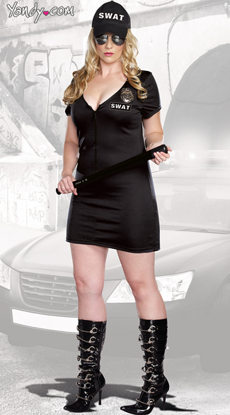 Plus Size SWAT Police Costume, Plus Size SWAT Dress Costume, Sexy SWAT Dress