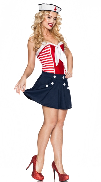sc 1 st  Yandy & Vintage Sailor Girl Costume Pin Up Sailor Costume Sailor Adult Costume