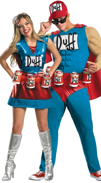 Duffman Couples Costume, Classic Duff Muscle Man Costume, Duff Man Costume, Duff Beer Man Costume, Simpson\'s Costumes, Darling Duffwoman Costume, Sexy Simpsons Costume, The Simpsons Costume