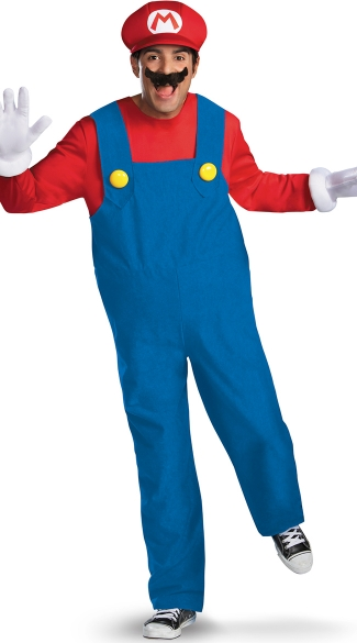 Men\'s Deluxe Mario Costume, Mens Mario Brothers Costume