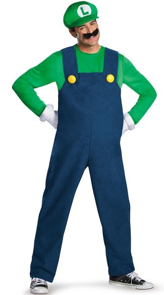 Men's Deluxe Luigi Costume - Blue/Green
