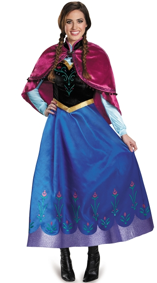 Deluxe frozen traveling anna costume adult frozen costume - Costume princesse disney adulte ...