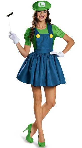 Sexy Luigi Costume, Mario Brother\'s Costumes, Women\'s Luigi Costume, Short Skirt Luigi Costume