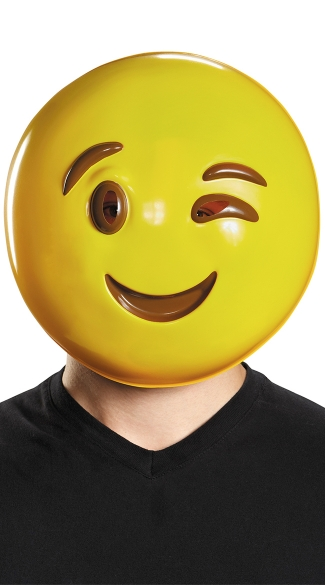 Wink Emoji Mask, Halloween Mask, Yellow Happy Face Mask