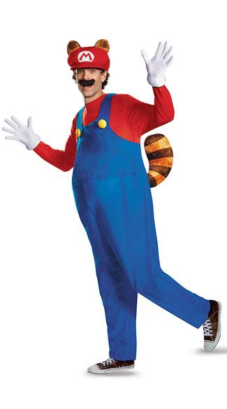 Deluxe Men's Raccoon Mario Costume - Red